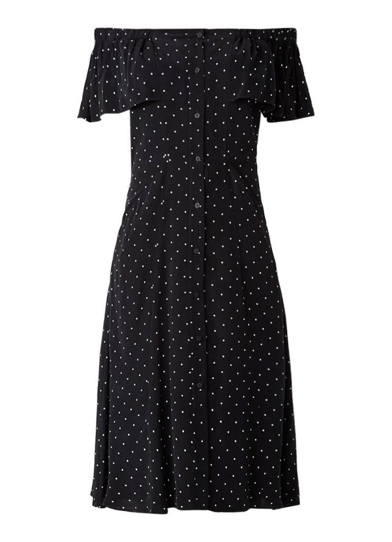 Whistles Spot off shoulder jurk met steekzakken en polkadots zwart