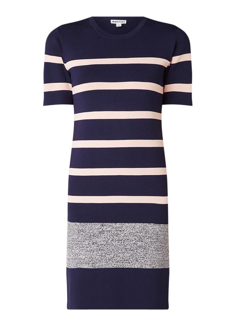 Whistles Stripe Tee ribgebreide midi-jurk met streepdessin donkerblauw