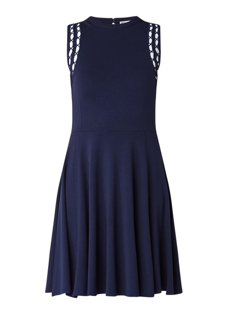 Whistles Lace Shoulder jersey A-lijn jurk met broderie donkerblauw