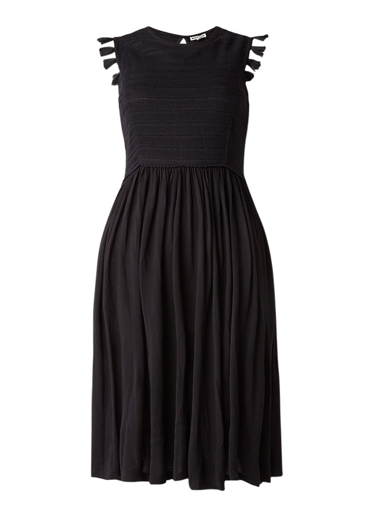 Whistles Midi-jurk met crochetkant en kwastjes zwart