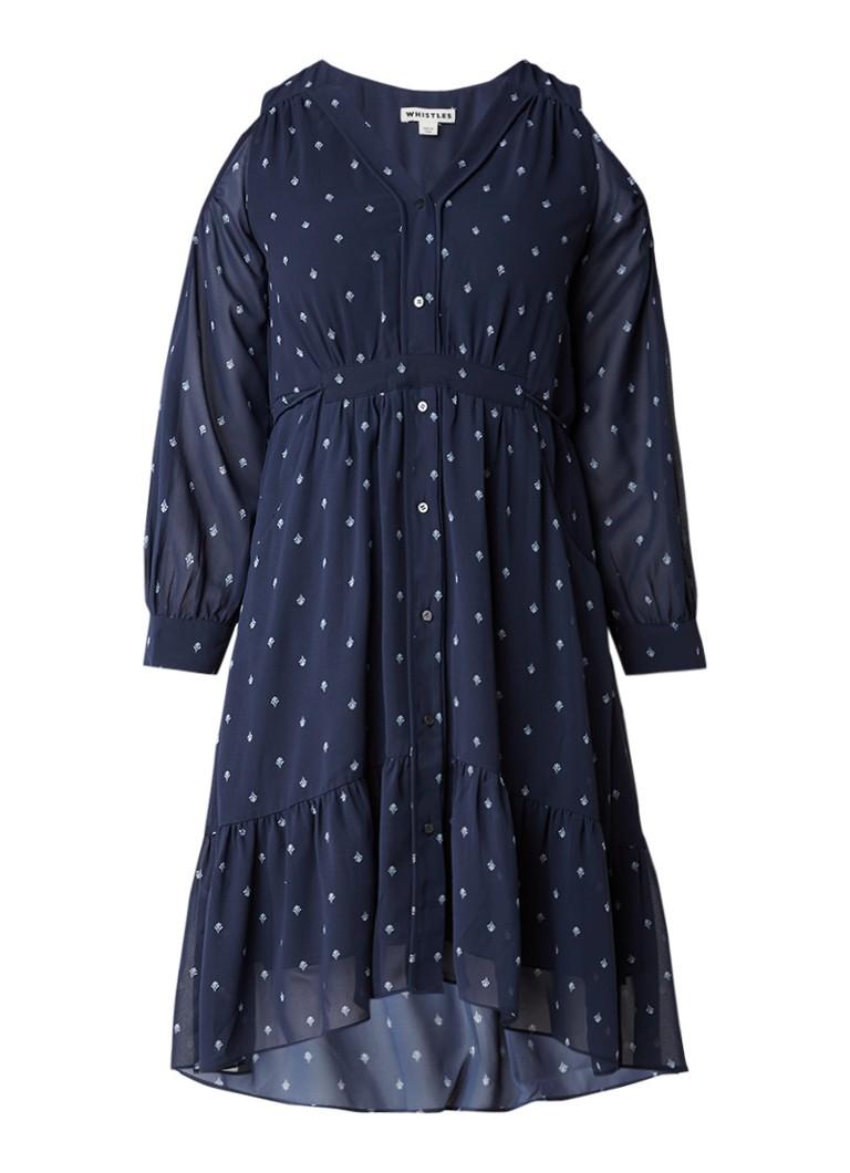 Whistles Fleur cold shoulder jurk met dessin donkerblauw