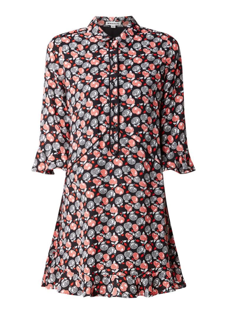 Whistles Midi-jurk met parelknoopsluiting en appeldessin rood