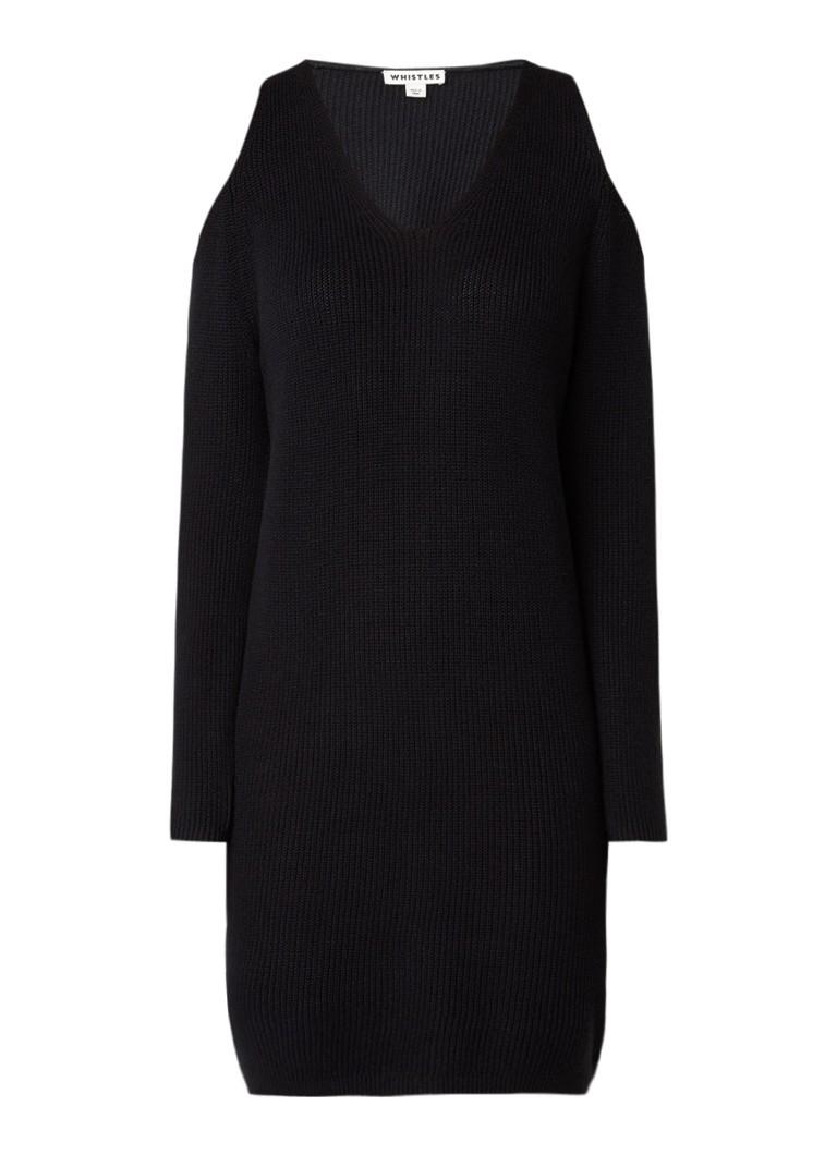 Whistles Fijngebreide jurk met cold shoulder zwart