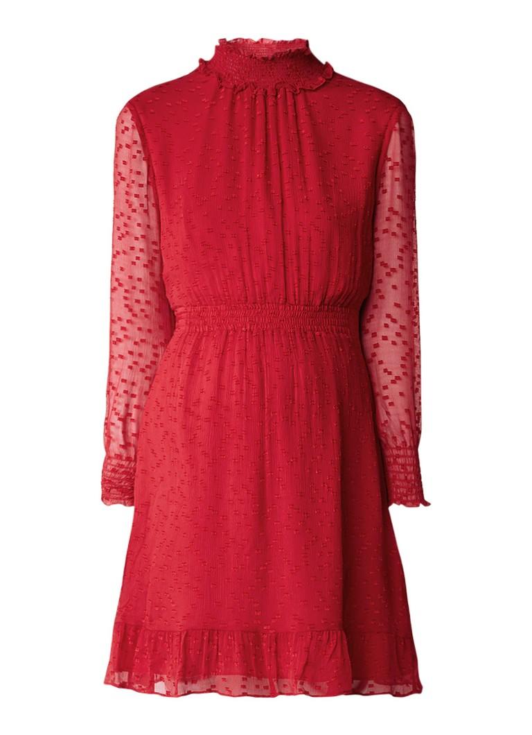 Whistles Ilona Dobby semi-transparante jurk in zijdeblend met structuur rood