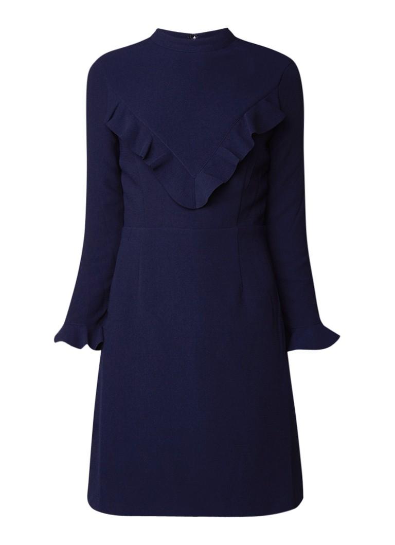 Whistles Maike A-lijn jurk met ruches donkerblauw