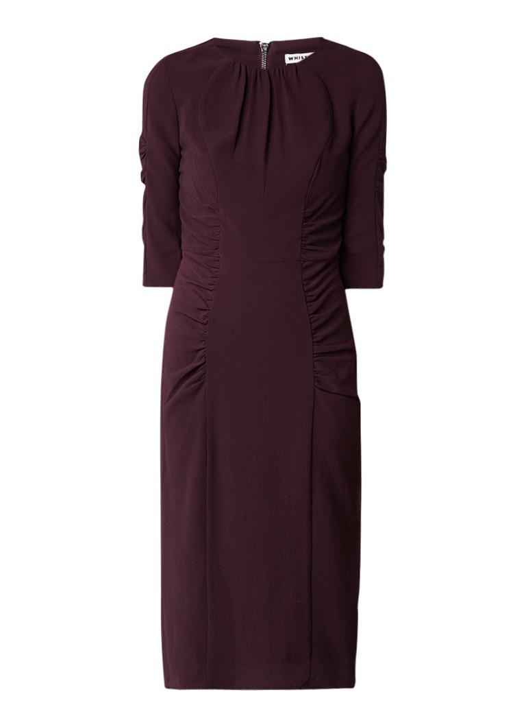 Whistles Bodycon midi-jurk met textuur en plooidetails aubergine