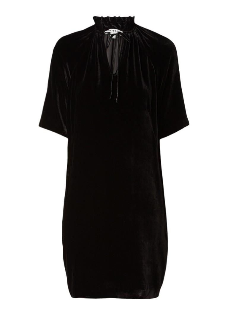 Whistles Midi-jurk van fluweel met strikdetail zwart