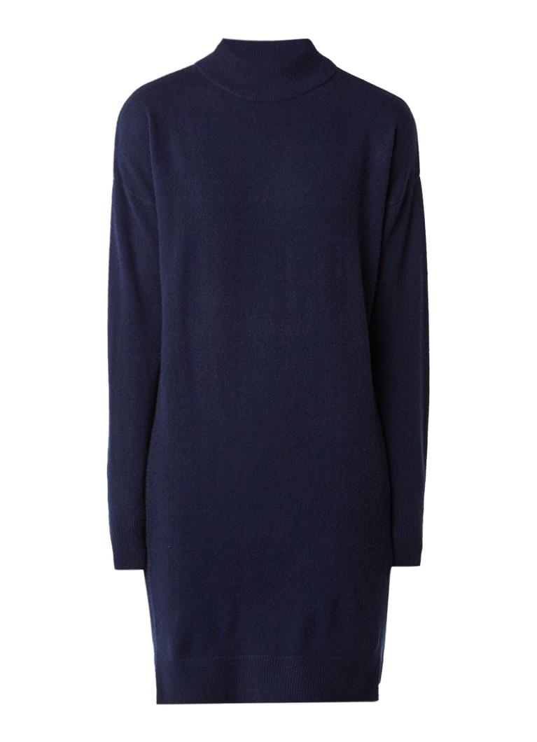 Whistles Fijngebreide jurk van kasjmier met col donkerblauw