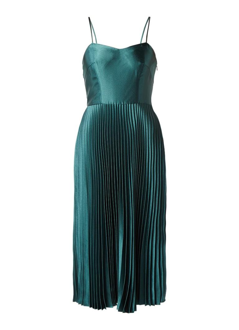 Whistles A-lijn jurk van satijn met plissé groen