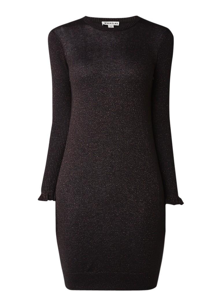 Whistles Fijngebreide jurk met volant en lurex zwart