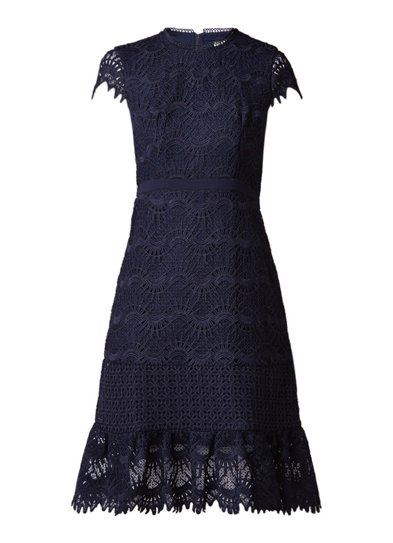 Whistles Niki A-lijn jurk van kant donkerblauw