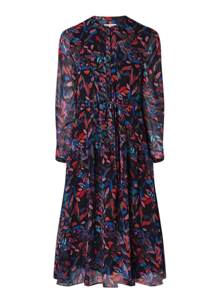 Whistles Mari A-lijn jurk van crêpe met dessin van bladeren donkerblauw