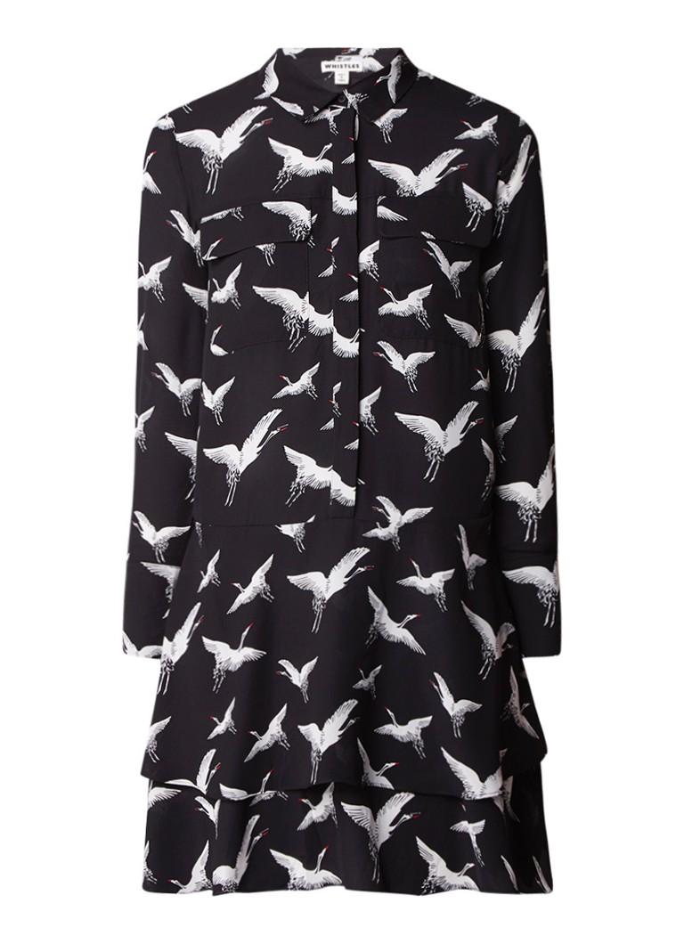 Whistles Crane blousejurk van crêpe met kraanvogelprint zwart