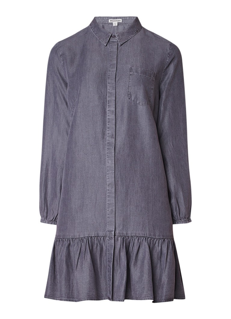Whistles Dropped hem blousejurk in denim look met rimpeldetail donkergrijs