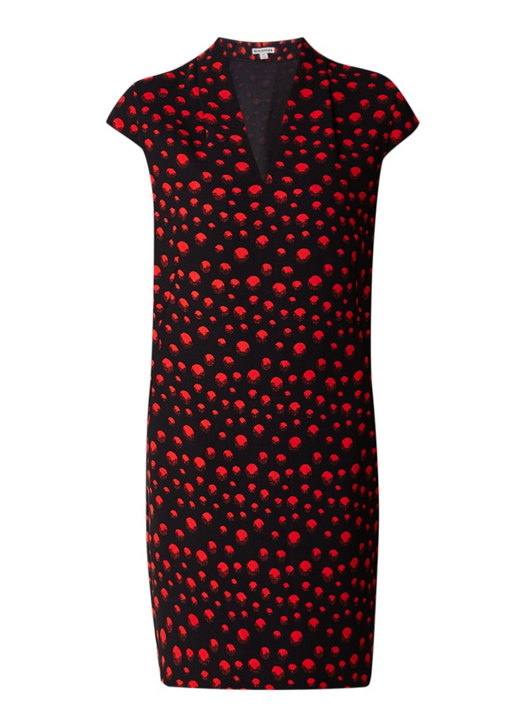 Whistles Paige shiftjurk met stippendessin rood