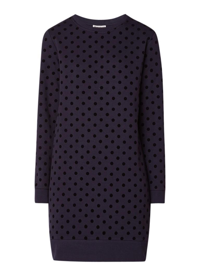Whistles Sweaterjurk met gestipt dessin donkerblauw