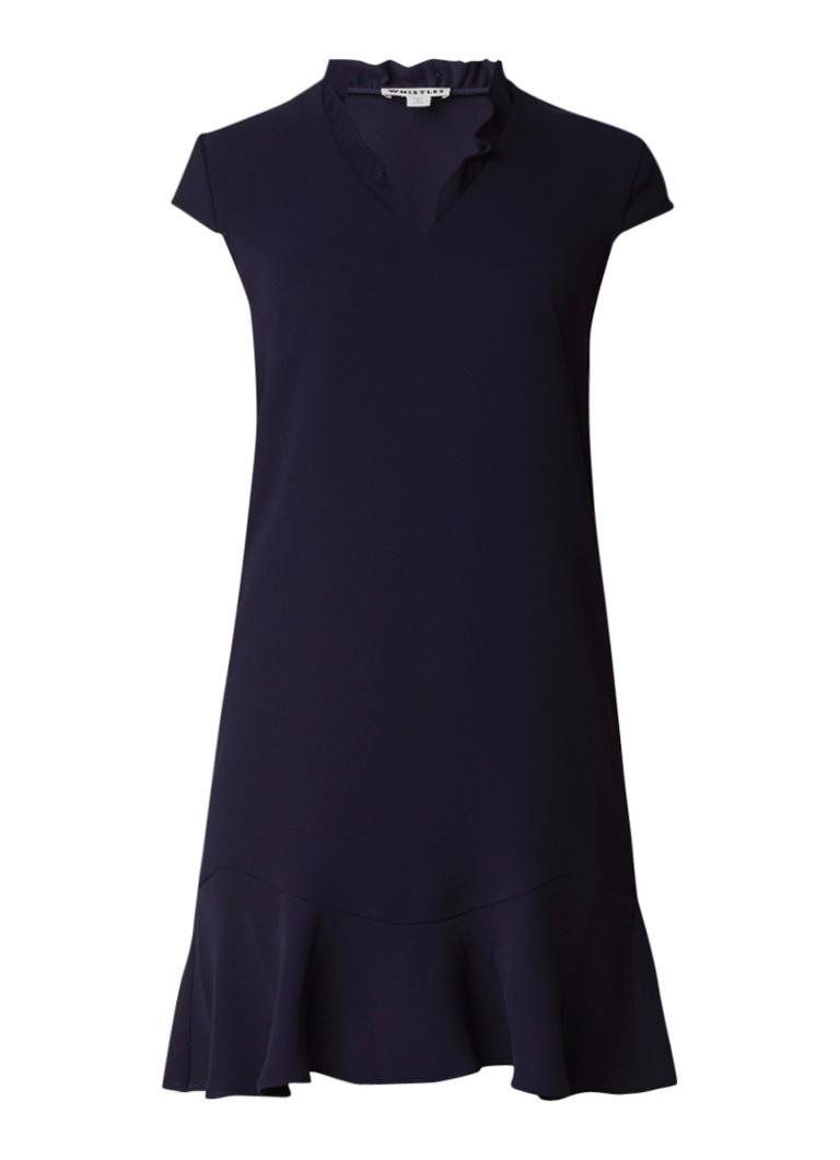 Whistles Federica jurk met ruches donkerblauw