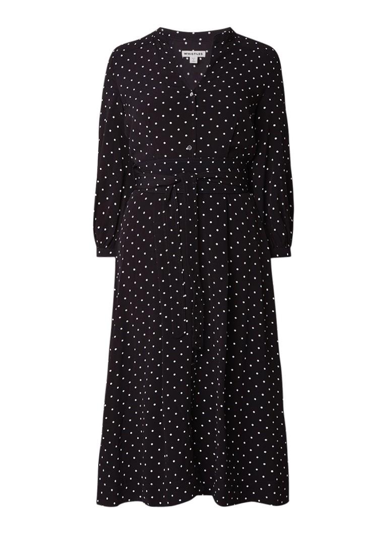 Whistles Kamala blousejurk met strikceintuur en gestipt dessin zwart