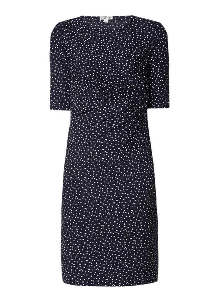 Whistles Bodycon jurk met dessin en plooidetail donkerblauw