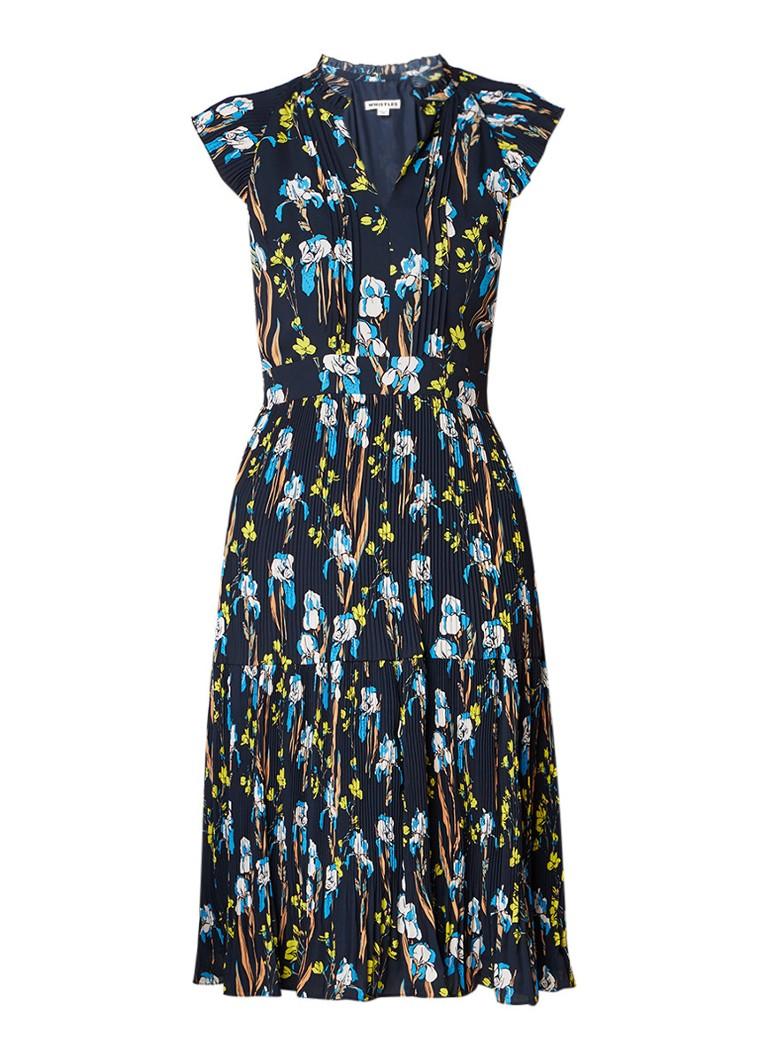 Whistles Celia Iris midi-jurk met bloemendessin en plissé donkerblauw