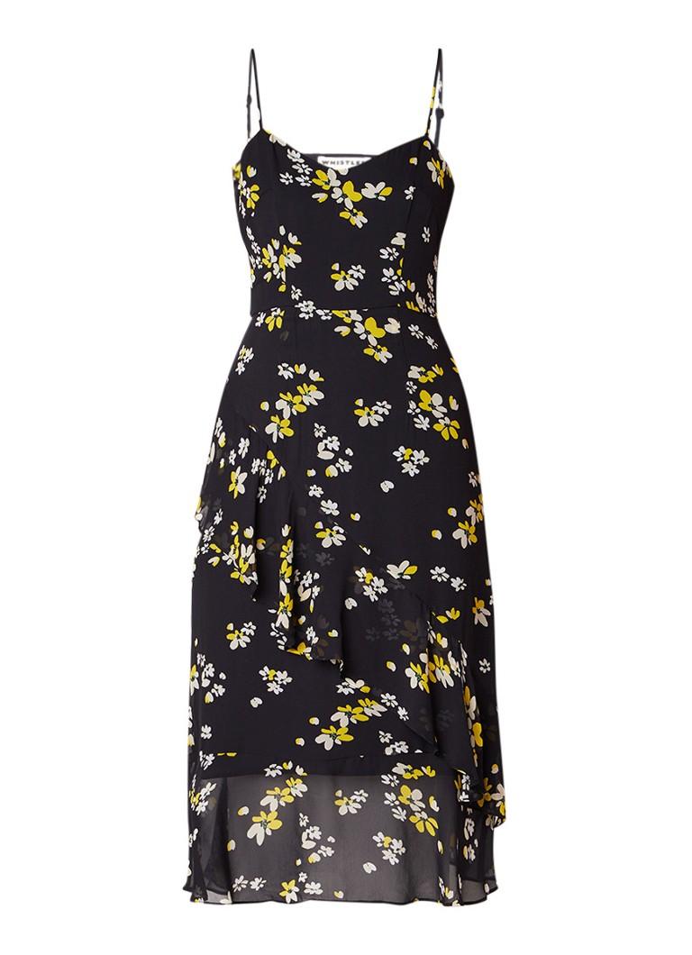 Whistles Lottie midi-jurk met bloemendessin en volant zwart