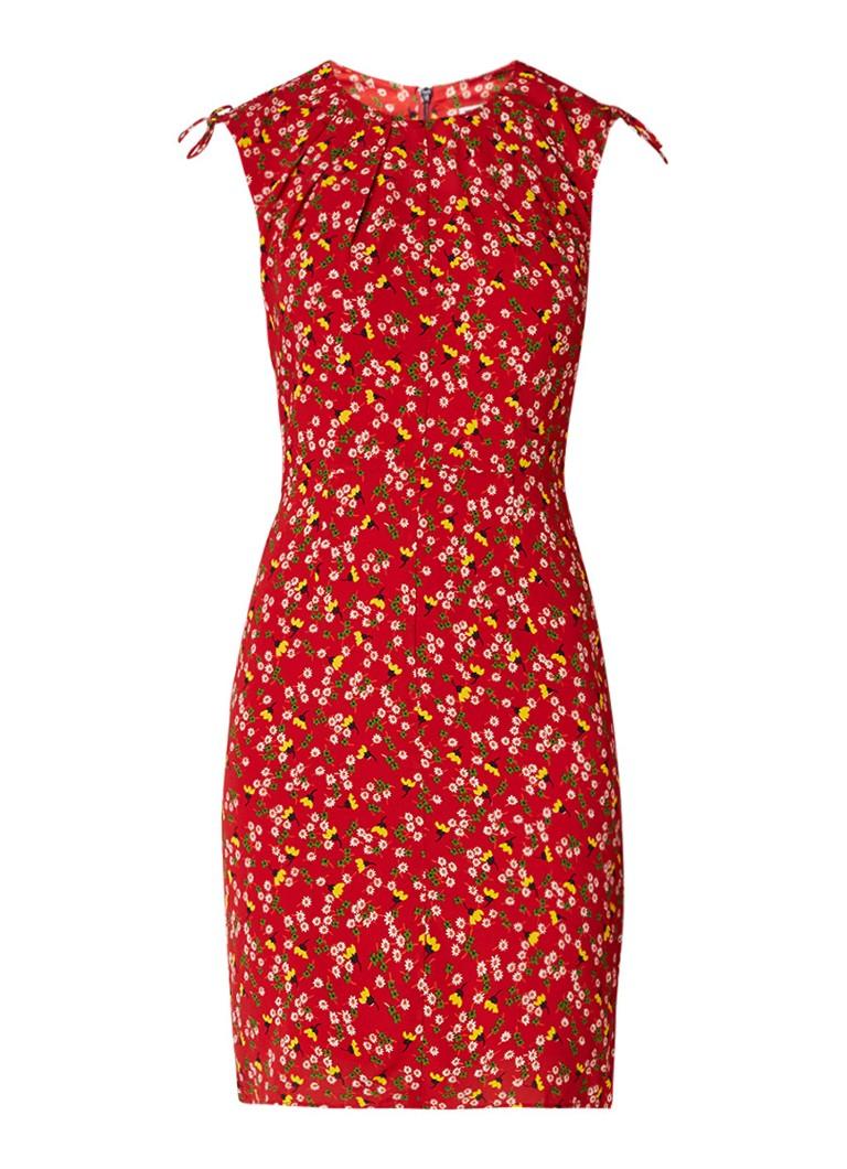 Whistles Bodycon mini-jurk met bloemendessin in zijdeblend rood