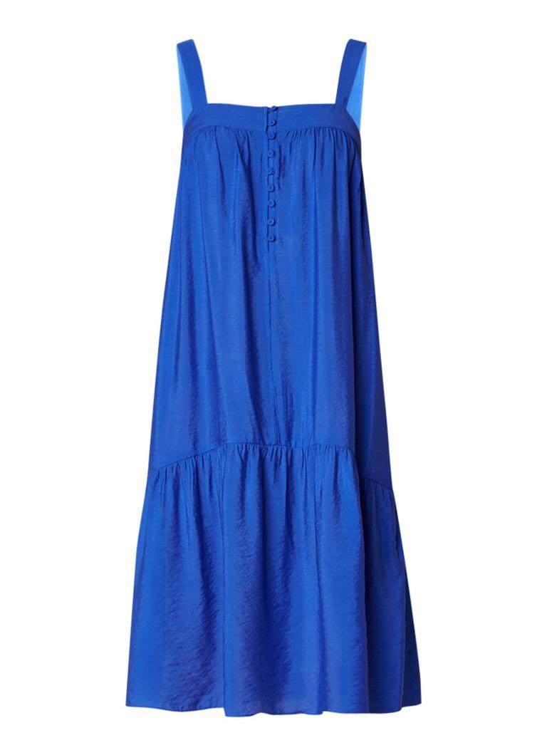 Whistles Florencia mouwloze A-lijn jurk met knoopsluiting blauw