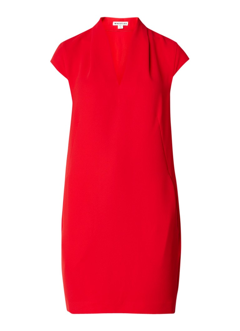 Whistles Paige jurk van crêpe met V-hals en steekzakken rood