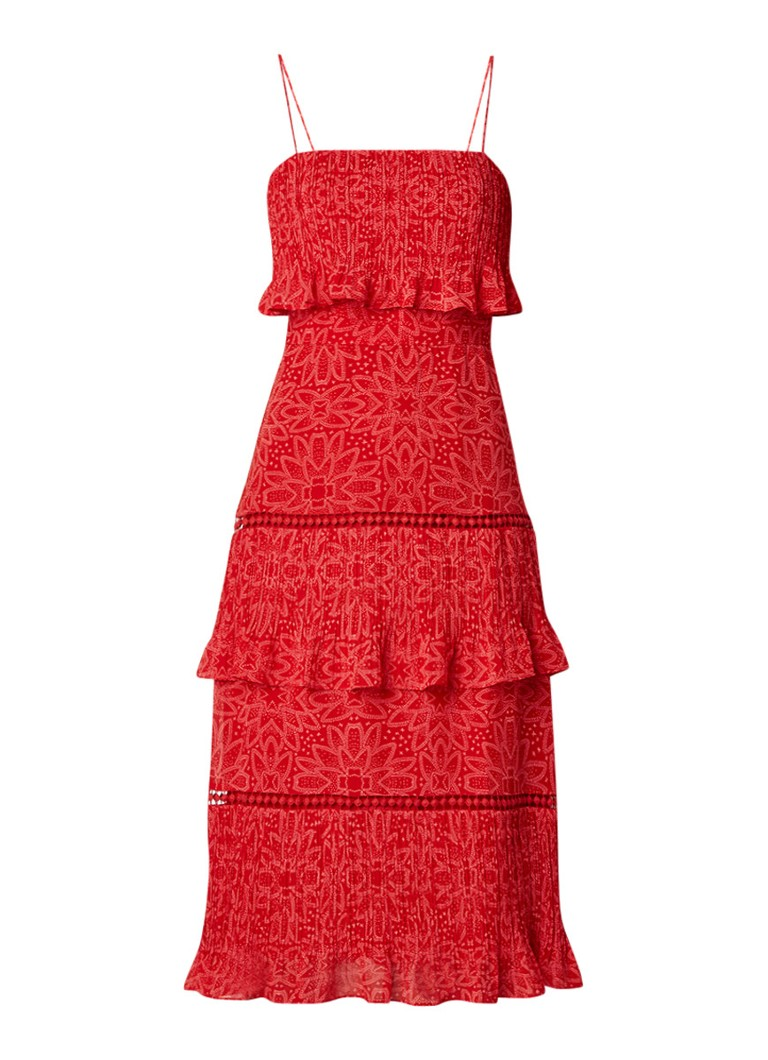 Whistles Riya midi-jurk van chiffon met volant en spaghettibandjes rood