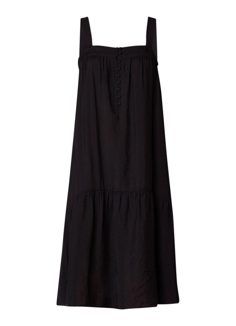 Whistles Florencia mouwloze A-lijn jurk met knoopsluiting zwart