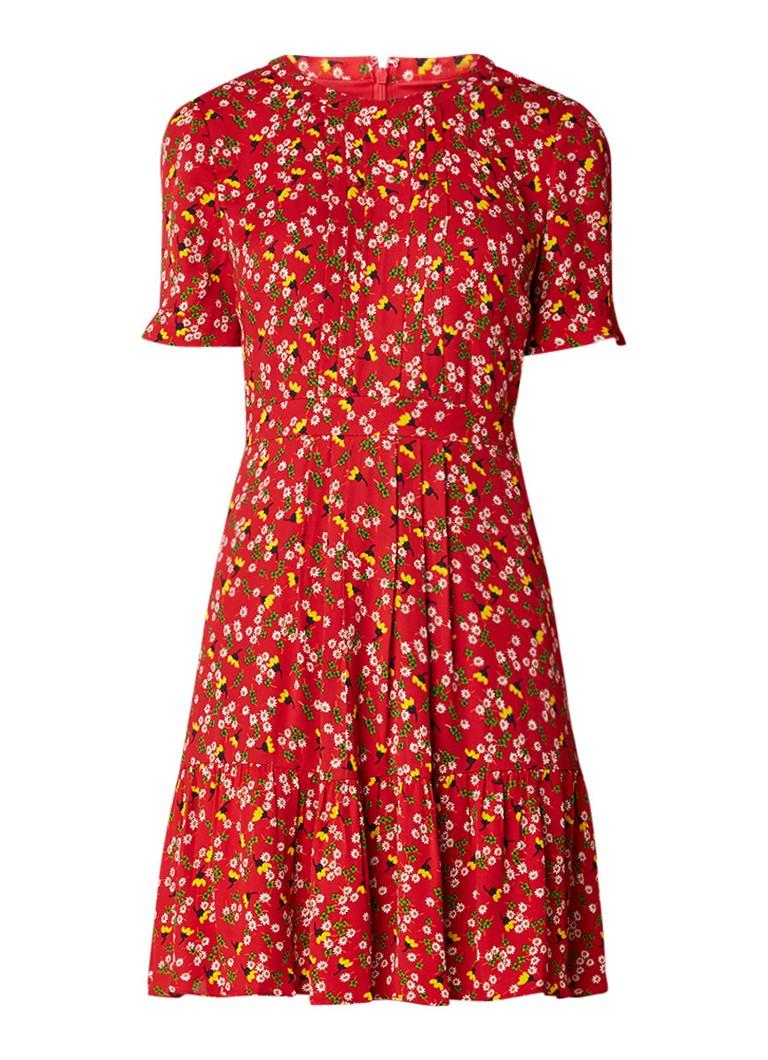 Whistles Peony A-lijn jurk met bloemendessin en plooidetails cranberryrood