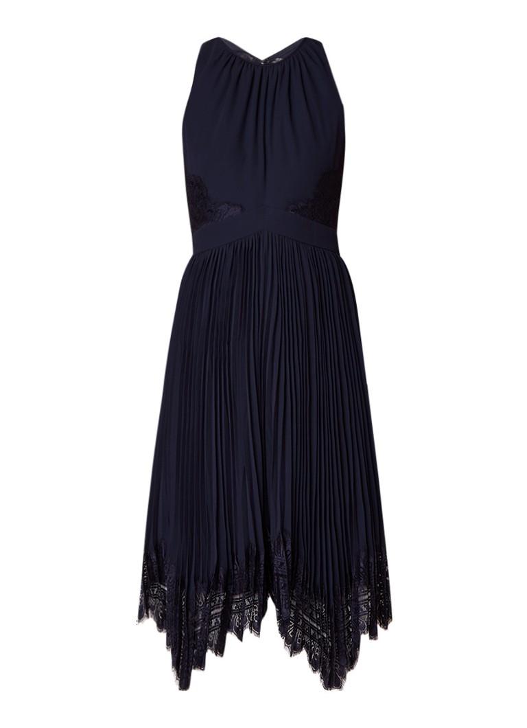 Whistles Lana midi-jurk met plissé en kant royalblauw