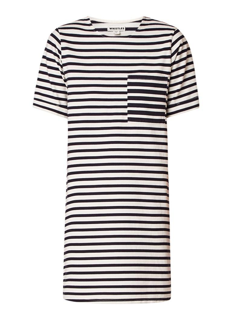 Whistles Amaka T-shirt jurk van jersey met streepdessin donkerblauw