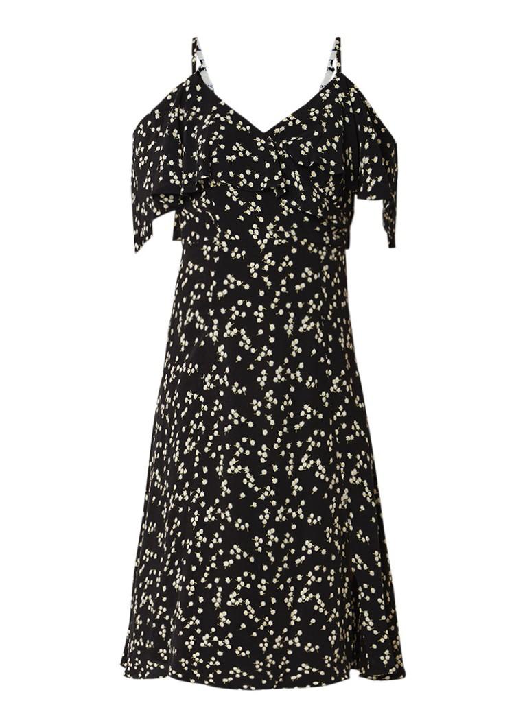 Whistles Daisy cold shoulder jurk van crêpe met bloemendessin diepzwart