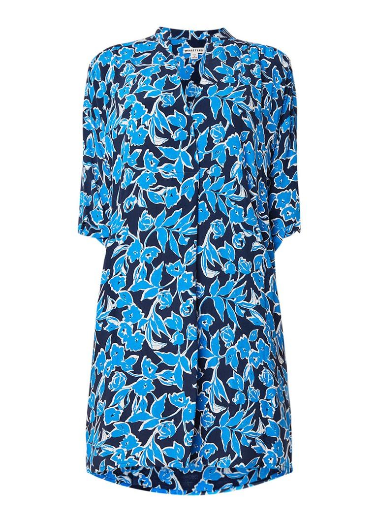 Whistles Luna Cordilla loose fit tuniekjurk met bloemendessin lichtblauw