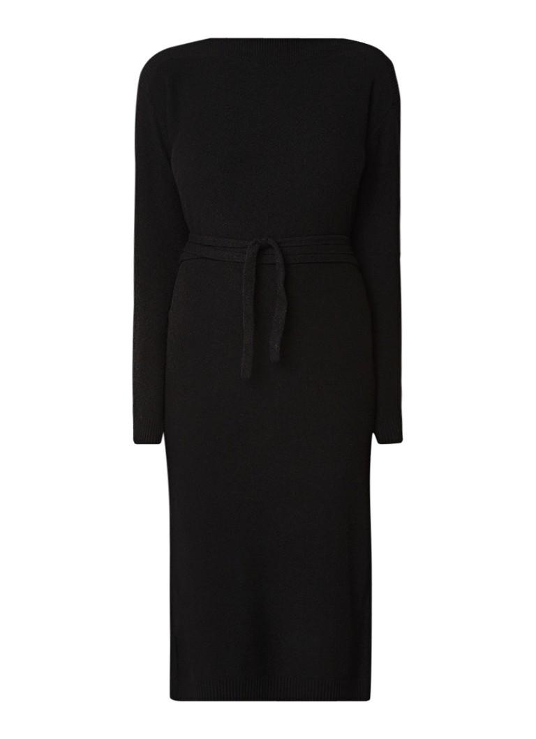 Whistles Gebreide midi-jurk met strikceintuur zwart