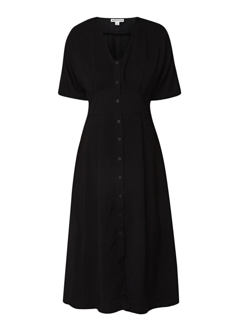 Whistles Naya midi blousejurk met V-hals zwart