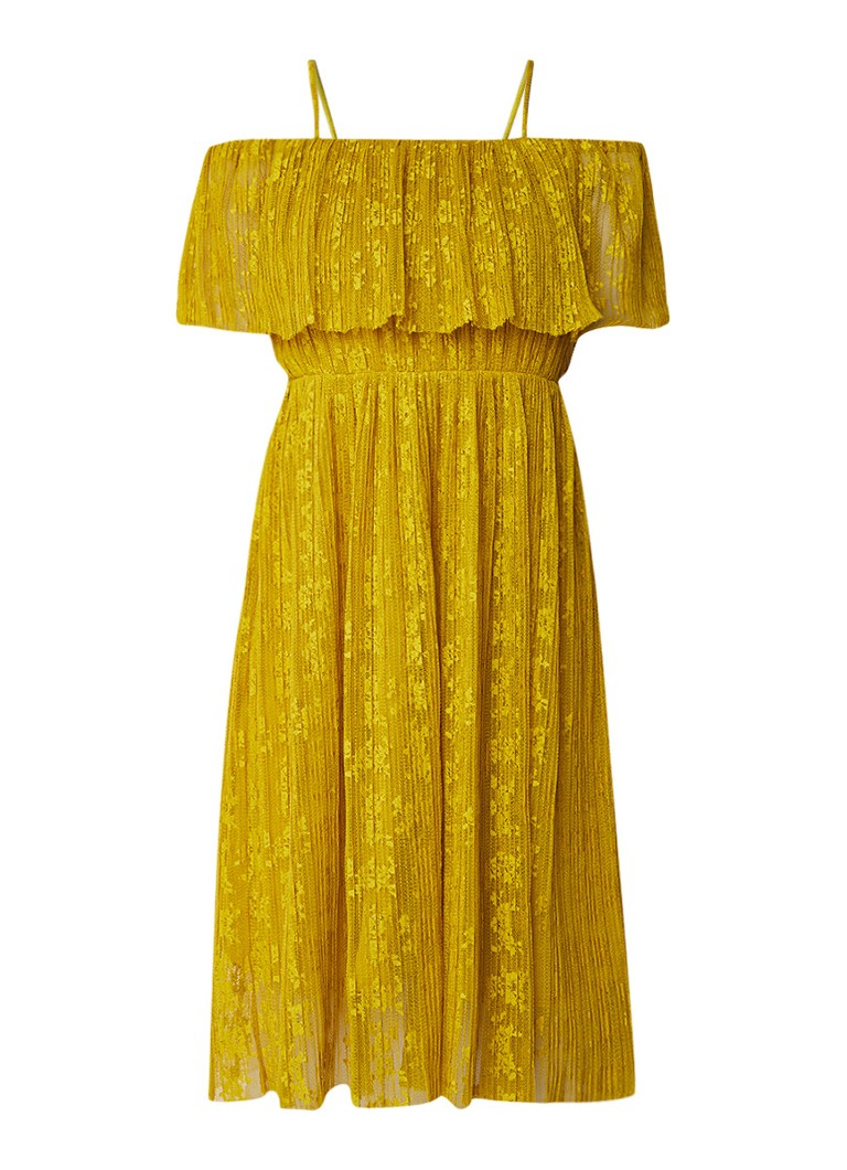 Whistles Cold shoulder jurk met kant en plissé mosterd