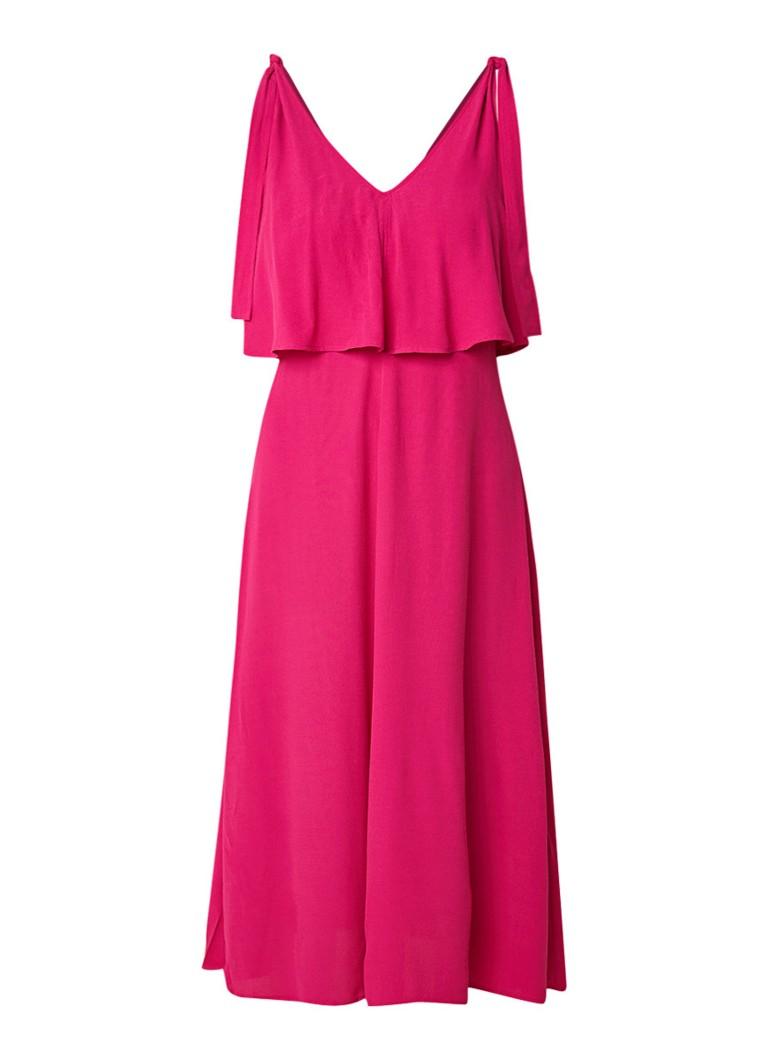 Whistles Romina midi-jurk met overlay fuchsia