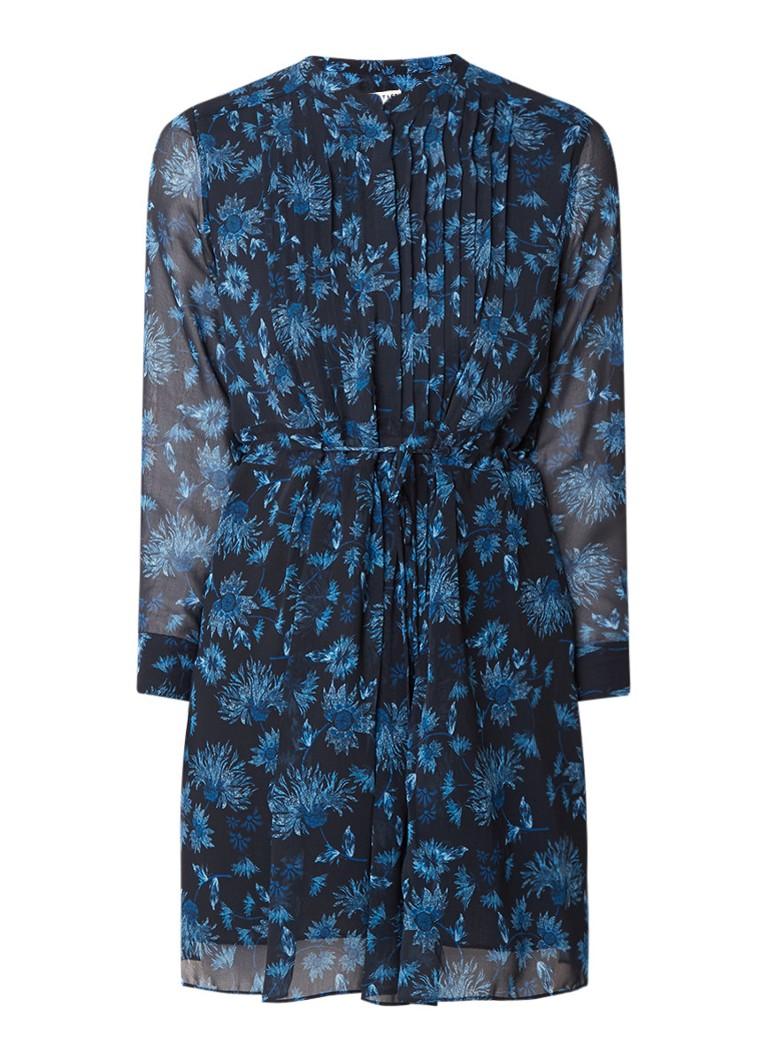 Whistles Pitti semi-transparante mini-jurk met bloemendessin kobaltblauw