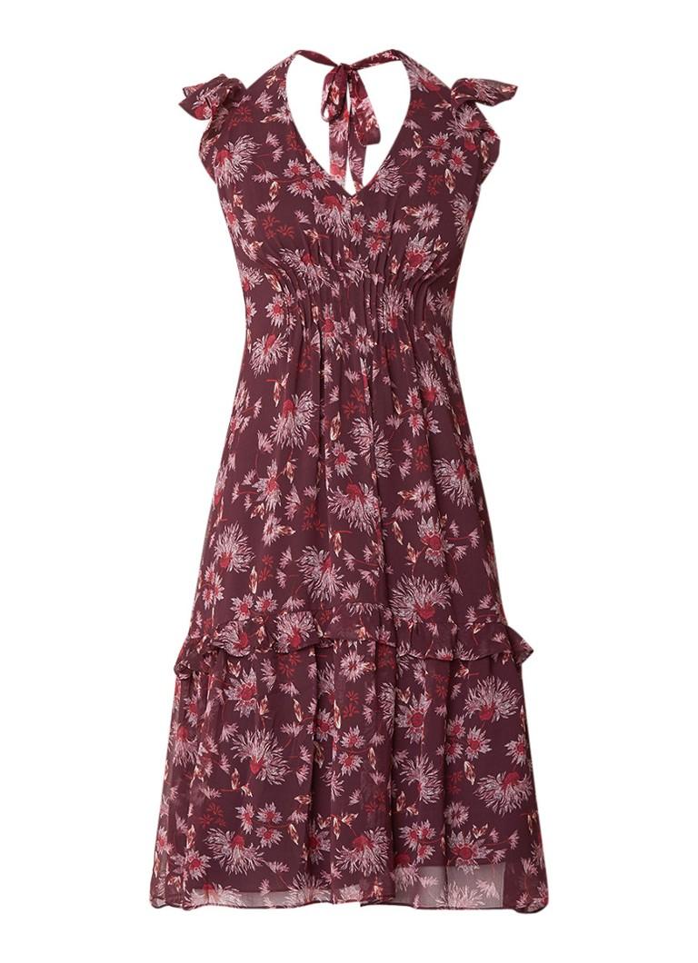 Whistles Pitti midi-jurk met bloemendessin aubergine
