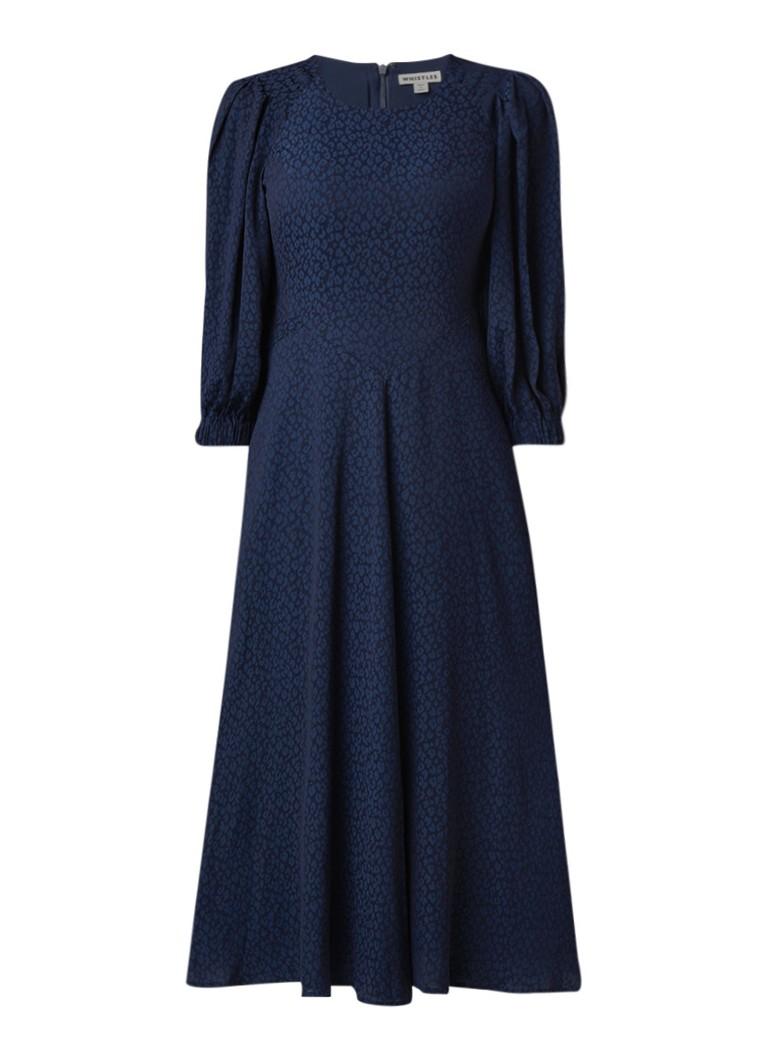 Whistles Fay maxi blousejurk met luipaarddessin royalblauw