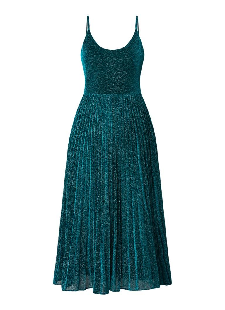 Whistles Regina midi-jurk met lurex en spaghettibandjes groen