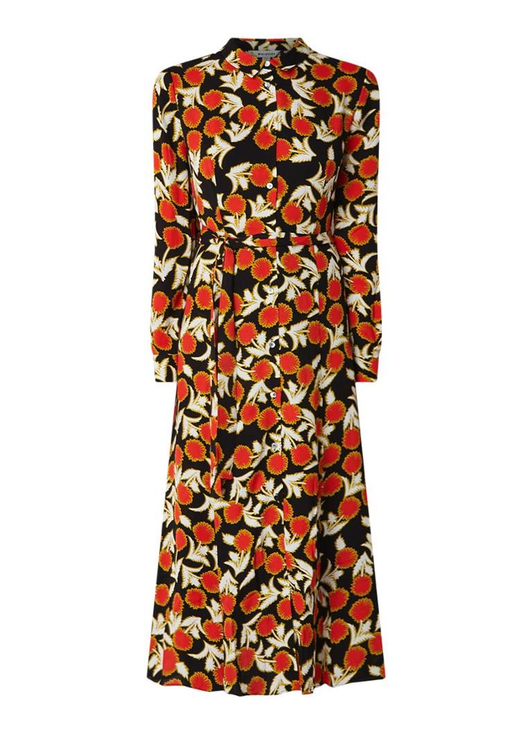 Whistles Dandelion maxi blousejurk met bloemendessin oranjerood