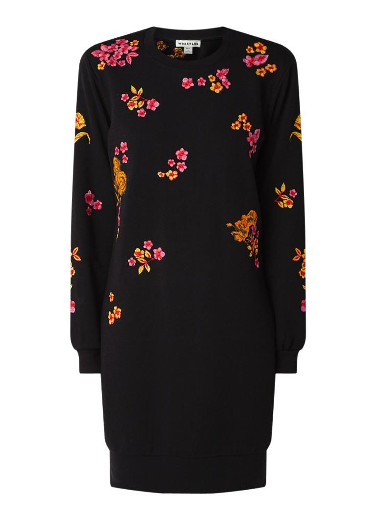 Whistles Fijngebreide trui-jurk van katoen met geborduurde bloemen diepzwart