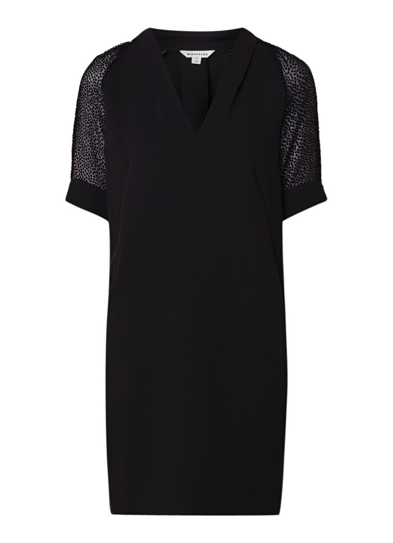 Whistles Lina midi-jurk met semi-transparante mouw zwart