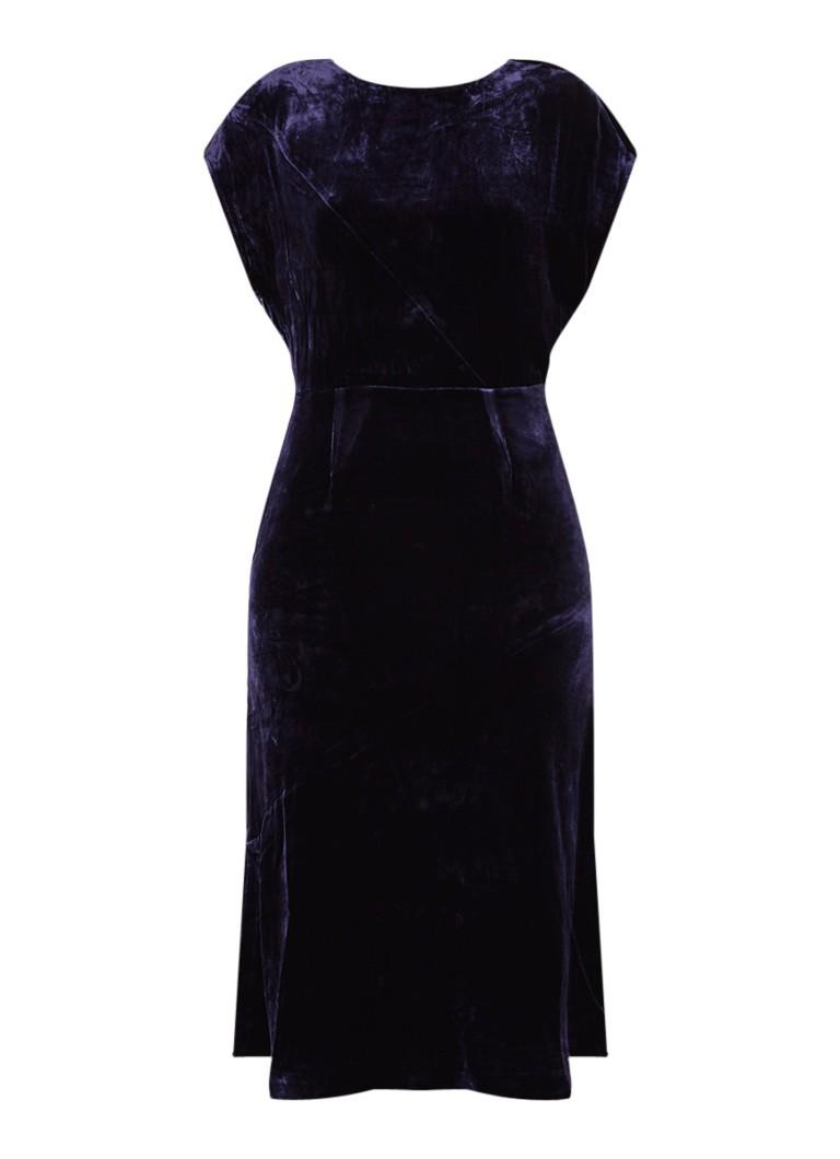 Whistles Mina midi-jurk van fluweel met rugdecolleté paars