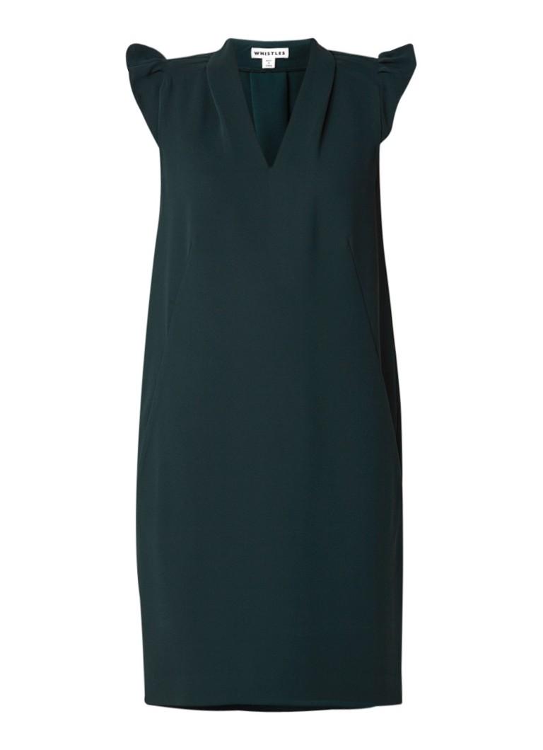 Whistles Safia mini-jurk van crêpe met volant donkergroen