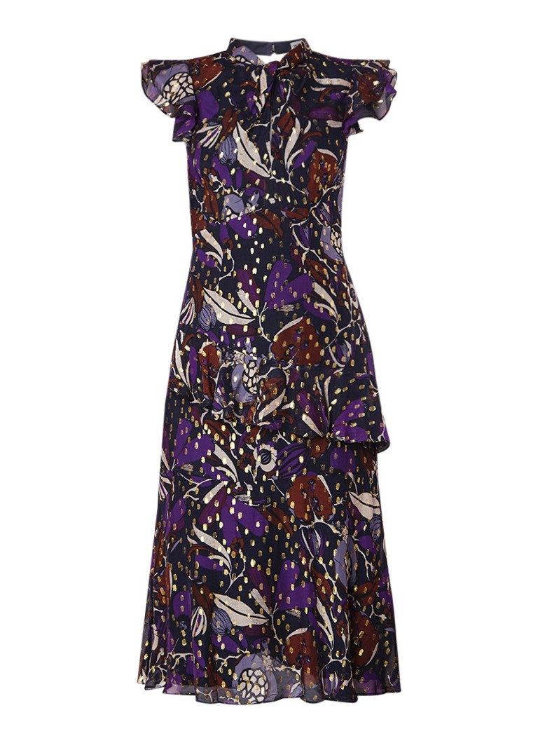 Whistles Montrose Dobby midi-jurk met dessin en glansdraad paars