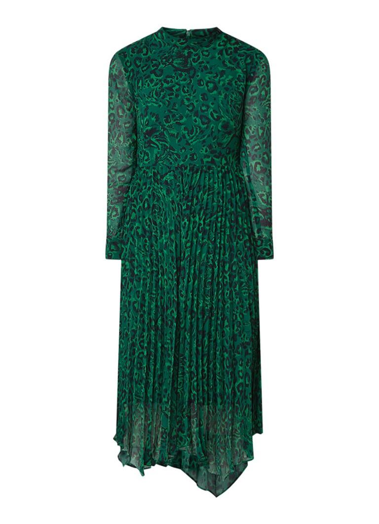 Whistles Jungle Cat midi-jurk met plissé en luipaarddessin donkergroen
